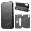 SLIM DESIGN notesz / flip tok - FEKETE - oldalra nyíló ablakos flip cover, asztali tartó funkció, szilikon belsõ - APPLE iPhone X