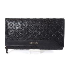 SLM GIULTIERI kocka nyomatos, fekete nagy két oldalas pénztárca SUN108