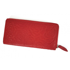 SLM Sylvia Belmonte rózsa mintás, piros nagy körzippes női bőr pénztárca RO01