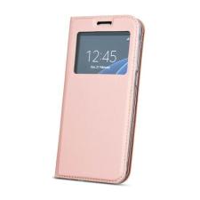 Smart Look Samsung J600 Galaxy J6 (2018) oldalra nyíló bőrhatású ablakos könyv tok szilikon belsővel rozéarany tok és táska