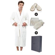 Soft Cotton SEHZADE férfi fürdőköpeny ajándékdobozban + törölköző+ papucs L + papucs (42/44) + törölköző + box