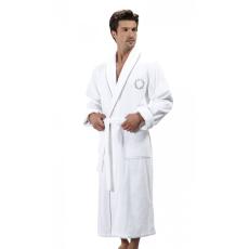 Soft Cotton SEHZADE férfi fürdőköpeny M Fehér - ezüst hímzés / White - silver embroidery