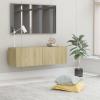 Sonomatölgy színű forgácslap TV-szekrény 100 x 30 x 30 cm