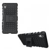 Sony Xperia X, Műanyag hátlap védőtok, Defender, kitámasztóval és szilikon belsővel, fekete