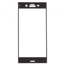 Sony Xperia XZ1, Kijelzővédő fólia, ütésálló fólia (az íves részre is!), Tempered Glass (edzett üveg), fekete mobiltelefon előlap