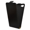 Sony Xperia Z5 Compact, Forcell lenyitható bőrtok, Slim Flip, felfelé nyíló - kinyitható, fekete