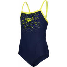 Speedo Gala Logo Thinstrap Muscleback Girl Navy/Lime Punch 30