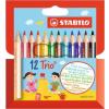 STABILO Színes ceruza készlet, háromszögletű, vastag, rövid, STABILO Trio, 12 különböző szín (TST2051201)