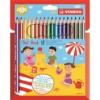 """STABILO Színes ceruza készlet, háromszögletű, vastag, STABILO \""""Trio\"""", 18 különböző szín [18 db]"""