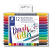 "STAEDTLER Ecsetirón készlet, 0,5-0,8/1,0-6,0 mm, kétvégű, STAEDTLER ""Brush letter Duo"", 12 szín"