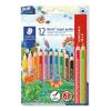 """STAEDTLER Színes ceruza készlet, háromszögletű, vastag, hegyezővel,  """"Noris Jumbo"""", 10+2 különböző szín"""