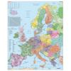 Stiefel Falitérkép,100x140 cm, fémléces, Európa irányítószámos térképe,