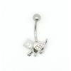 Svarovski kristályokkal díszített köldök piercing. Cica.