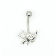 Svarovski kristályokkal díszített köldök piercing. Cica. testékszer