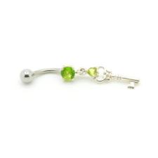 Svarovski kristályokkal díszített köldök piercing. kulcs. testékszer