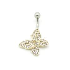 Svarovski kristályokkal díszített köldök piercing. Pillangó. testékszer