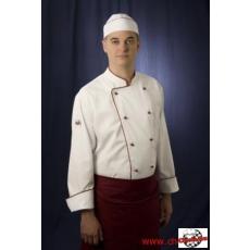 Szakácskabát cukrász kabát fehér hosszú ujjú bordó paszpól díszítéssel