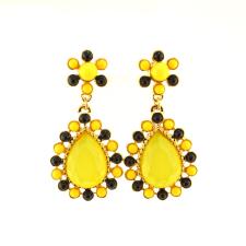 Színes cseppkő fülbevaló, sárga fülbevaló