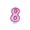 Szülinapi számgyertya 6,5cm rózsaszín 8