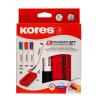 Tábla- és flipchart marker készlet mágneses táblatörlő szivaccsal, 1-3 mm, kúpos KORES, 4 különböző szín, 4 db/készlet (IK20863)
