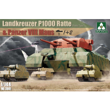 Takom Landkreuzer P1000 Ratte(Proto Type)&Panzer Maus tank harcjármű makett Takom 3001 makett figura