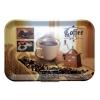 . Tálca, szögletes, műanyag, kávéház mintás, 21x14 cm
