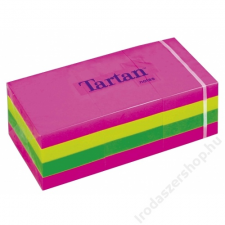 TARTAN Önatapadó jegyzettömb, 38x51 mm, 100 lap, 12 tömb/cs, TARTAN, vegyes neon színek (LPT5138N) jegyzettömb