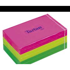 TARTAN Öntapadó jegyzettömb, 127x76 mm, 100 lap, 6 tömb/cs, , vegyes neon színek jegyzettömb