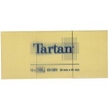 TARTAN Öntapadó jegyzettömb, 38x51 mm, 100 lap, 12 tömb/cs, TARTAN, sárga jegyzettömb