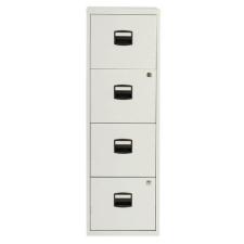 Tees egysoros fém A4-es irattartó szekrény, 4 fiók, világosszÜrke irattartó