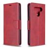 Telealk LG K51 oldalra nyíló, bőr, mágnes záras, kártyatartós tok, sötét piros