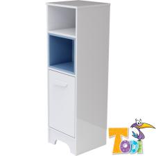 Todi Bianco keskeny nyitott polcos + 1 ajtós Szekrény - bordázott #fehér-kék gyermekbútor