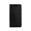 Tok, mágneses oldalra nyíló műbőr flip tok, Huawei Y625, fekete, (szilikon belsővel), csomagolás nélküli