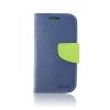 Tok, Telone Fancy oldalra nyíló flip tok, szilikon belsővel, Huawei P20 Lite, kék--lime zöld, csomagolás nélküli