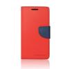 Tok, Telone Fancy oldalra nyíló flip tok, szilikon belsővel, Huawei P9, piros-kék, csomagolás nélküli