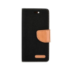 Tok, Telone Fancy oldalra nyíló flip tok, szilikon belsővel, LG X Power, fekete, szövetbevonatos, csomagolás nélküli