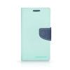 Tok, Telone Fancy oldalra nyíló flip tok, szilikon belsővel, Samsung Galaxy J1 (2016) J120, menta zöld-kék, csomagolás nélküli