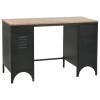 tömör fenyőfa és acél kétszekrényes íróasztal 100 x 50 x 76 cm