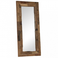 Tömör újrahasznosított fa keretű tükör 50 x 110 cm bútor