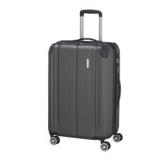 TRAVELITE CITY M antracit négykerekű bővíthető karcálló közepes bőrönd