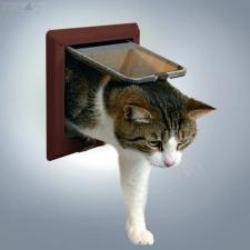Trixie, Trixie macska ajtó 4 funkciós - vastag ajtóba ( barna, 14,7 × 15,8 cm ) macskaajtó