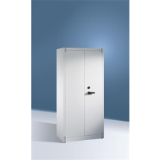 . Tűzbiztos szekrény 4 polccal, 2 ajtós, szürke munkavédelem