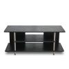 TV asztal, fekete fa + fém (ezüst), QUIDO