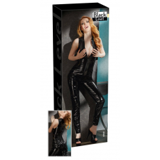 Ujjatlan, cipzáros lakk overall (fekete)
