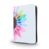 """Univerzális TabletPC tok, mappa tok, 7-8"""", stand, színes virágminta, fehér"""