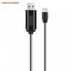 USB töltő- és adatkábel, USB Type-C, 100 cm, gyorstöltő, törésgátló, időzítős, LED kijelző, Hoco U29, fehér