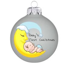 """Üvegkarácsonyfadíszek """"Baby's first Christmas"""" felirat, matt fehér gömbön, kisfiúknak. Rendelje névvel és akár dátummal! karácsonyi dekoráció"""