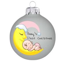 """Üvegkarácsonyfadíszek """"Baby's first Christmas"""" felirat matt fehér gömbön, kislányoknak. Rendelje névvel és akár dátummal. karácsonyi dekoráció"""