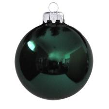 Üvegkarácsonyfadíszek Fényes fenyő zöld gömb 10cm-es 4db karácsonyi dekoráció