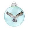 Üvegkarácsonyfadíszek Gyöngybagoly fényes világos kék 8cm-es  üveggömbön